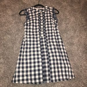Anthropologie Blue and White Gingham Shirt Dress